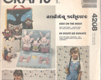 1980s  McCalls 4208 620 Doll Carry House and Stuffed Animals Pattern Bear Bunny Andrea Schewe Vintage Toy Sewing Pattern UNCUT