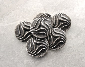 Silver Metal Buttons, 29mm 1-1/8 inch - Carved Tri-Swirl Design with Etched Details  - 6 VTG NOS Lightweight Silver Tone Metal Buttons MT086