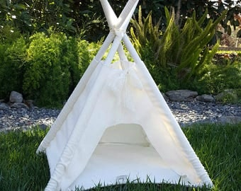 teepee, dog teepee, pet teepee, cat teepee, pet tent, pet bed, dog house, cat house - SAGE PET TEEPEE