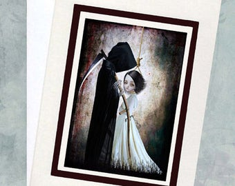 Gothic Greeting Card & Envelope -  Grim Reaper Art Card - The Lengths I'd Go To Be With You