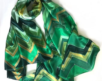 Chevron Silk Scarf/ Hand painted silk shawl, Green scarf, geometric scarf, Silk scarf painted, Woman fashion, Christmas gift for mom OOAK