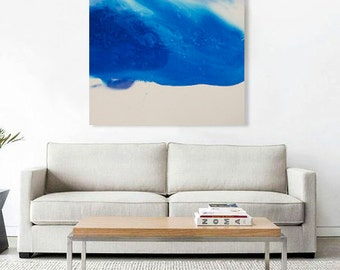"Large Blue Watercolor Canvas Abstract Painting, blue grey 43 x 55"", ""Windstorm I"" mid century inspired art, contemporary modern minimal art"