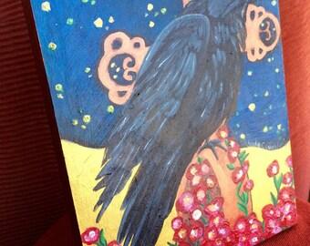Raven; Original Art on Wood