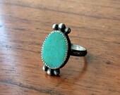 Kingman Turquoise Sterling Silver Ring - Size 7.25 - Boho Hippie Aqua Ponderbird