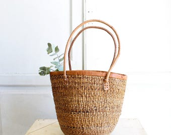 woven basket bag market tote with leather handles