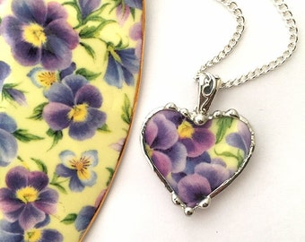 Broken china jewelry -  pansy heart pendant - purple pansies -  broken china jewelry heart pendant necklace