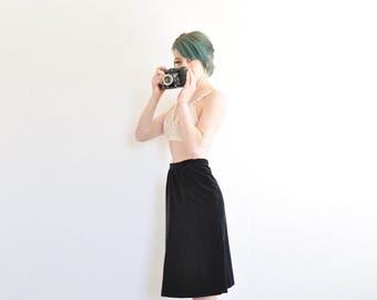 high waist black velvet skirt . plush vintage classic knee length .medium