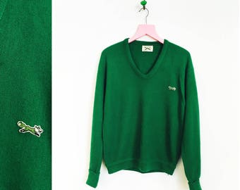 Vintage 1970s Unisex V Neck Green Pullover Sweater The Fox Sweater by JC Penney Men's Size M- Women's Size L