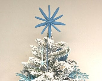 Natural Triple Starfish Tree Topper - Choose Blue or Aqua - Center Starfish is Glittered - Christmas Decoration Beach Star fish