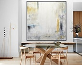 Large Oil Painting Original Modern Abstract Art White Amber Yellow Blue Oil Painting Contemporary Art Interior Design Wall Art Sky Whitman
