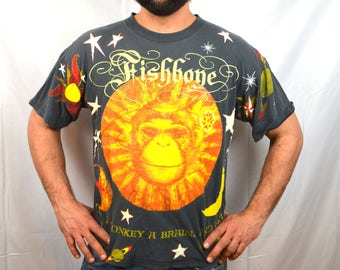 Vintage 90s 1993 Fishbone Lollapalooza Concert Tshirt Tee Shirt - All Over Print