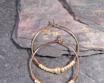 Niobium Gold Hoop Earrings. Nickel Free Niobium Earrings. Delicate Gold Hoops. Hypoallergenic Earrings for Sensitive Ears.
