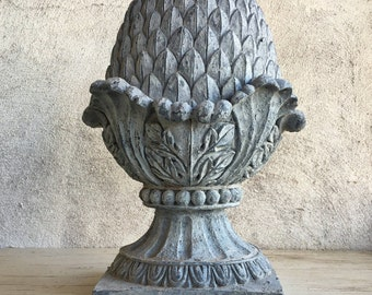 Vintage distressed gray acorn finial, pineapple decor, architectural salvage industrial decor, cottage chic wedding centerpiece garden decor