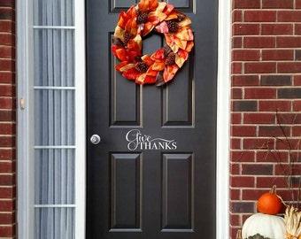 Give Thanks Decal - Front Door Decor - Thanksgiving decal - Door Sticker