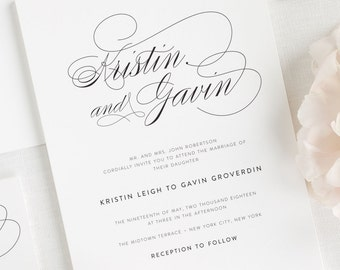 Script Elegance Wedding Invitations - Deposit