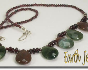 Red Garnet with Red & Green Agate Necklace