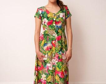 Vintage Floral Print Maxi Dress - Tropical Pattern Cut Out Dress - Short Sleeve Bird Print Maxi Dress - Carol Anderson Petites - Size Small