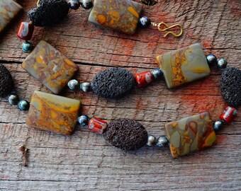 Rustic Earthy, Bohemian Necklace, Brown Red Brass, Natural Gemstones, Jasper Hematite Lava