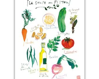 Basil soup recipe print, Kitchen art, Vegetable print, 8X10 art print, Kitchen decor, Watercolor veggie painting, Food art Colorful wall art