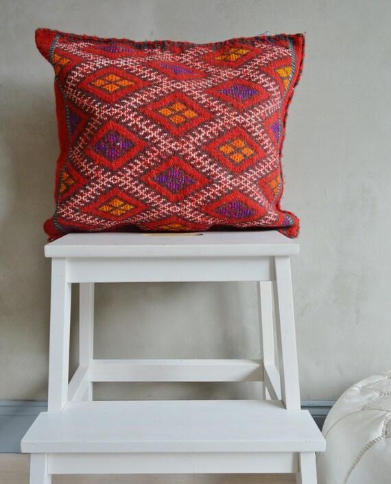 Vintage Moroccan Multi Colour Pattern Kilim Berber Carpet Cushions-lumbar, vintage cushions, kilim cushions,  gifts No9