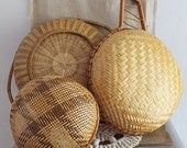 Vintage Set of Decorative Woven Bamboo Baskets