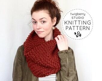 Cowl Knitting PATTERN, Knit Cowl Pattern, Chunky Knit Cowl Pattern, Scarf Pattern Knitting, Cowl Pattern Knit, Infinity Scarf Pattern, Easy