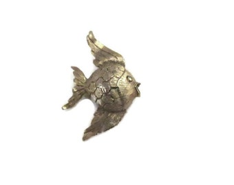 small gold tone angel fish brooch, signed mamselle, nautical jewelry, ocean, lapel pin, vintage