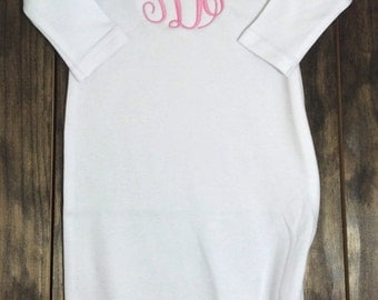 Monogrammed Baby Gown - Baby Gown - Monogram Baby Gown - Monogram Baby - Monogram Baby Gift - Baby Gift