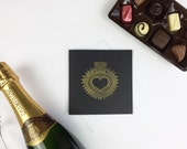 Sacred Heart Valentines Card // Hand stamped Valentines Day Greeting Card featuring Gold Sacred Heart