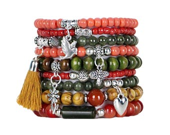 Beaded Bracelets Set of 9 Stretch Bracelets Bohemian Autumn Tones Themed Stack with Silver Tone Charms and Tassel