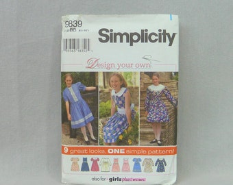 1995 Pattern - Girls' Plus Dress 9 Looks - Uncut Simplicity 9839 - Size BB 8 1/2 10 1/2 12 1/2 14 1/2 16 1/2 - Vintage 1990s Sewing Pattern