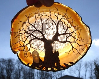 Copper Wire Tree Of Life Metal Art Sculpture On A Brown Agate Stone Crystal Suncatcher With Two Quartz Crystal Points
