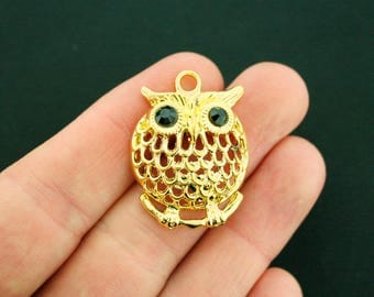 5 Owl Charms Antique Gold Tone with Great Details and Black Enamel Eyes - GC1151
