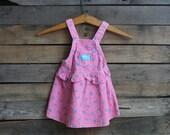 Vintage Children's Pink & Purple Floral Ruffled Corduroy Dress by Osh Kosh B'Gosh Size 3T