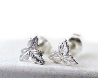 Silver Leaf Earrings, Silver Leaf Studs, Sterling Silver Charm Earrings, Nature Jewelry, Unique Bridesmaids Jewelry, Woodland Wedding