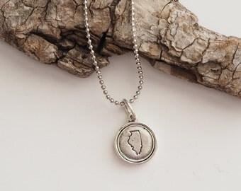 Illinois, Stamped Illinois Necklace, Illinois Jewelry, State Jewelry, Illinois Charm, IL