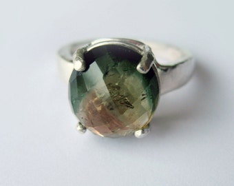 Rare Natural Tri-color Tourmaline In Sterling Silver Ring, 5.69ct. Size 7.5