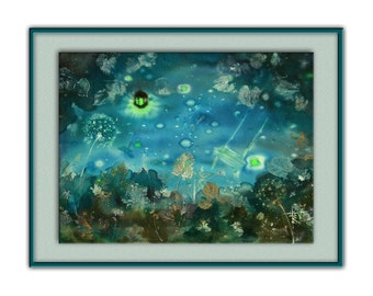 Summer night landscape, fairy painting, mixmedia, fireflies, childhood, dark turquoise, bedroom, children's room decor, teal wall hanging
