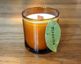 Fireside Scented Soy Candle - 8 oz. Soy Candle - Woodwick Soy Candle - Plantable Tag - Soy Wax - Campfire Scented Candle - Wildflower Seeds