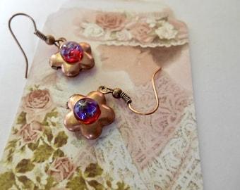 Locket Earrings, Dragons' Breath Fire Glass Opal Locket Earrings, Locket Earrings, Dragon's Breath, Copper Earrings