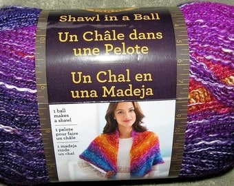 Lion Brand Shawl in a Ball Cotton Acrylic Med Yarn Article 828 Lot 77372 Color Restful Rainbow Jewel Tones 518 Yd 3 Balls Available EUC NEW
