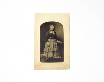 Vintage Tintype Photo of Woman with Curly Hair / Civil War Era Tintype Photograph