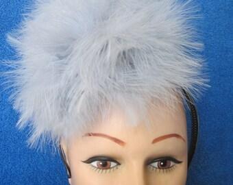 Plush and Elegant Grey Maribou Feather Fascinator
