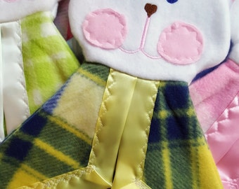 Blue and Yellow Plaid Bunny Puppet Lovey Security Blanket