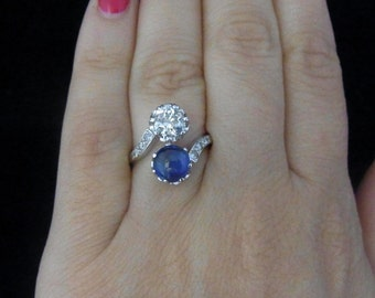 Antique 1ct Diamond 1.5ct No Heat Sapphire Toi at Moi Ring Engagement Certified