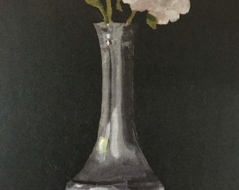 White Roses in Silver Vase Note Card