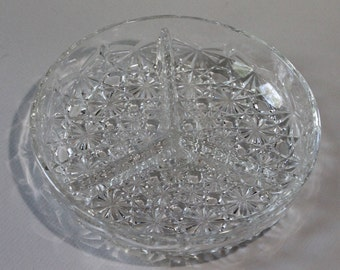 Indiana Glass Divided Dish, Daisy & Button Pattern (#620)