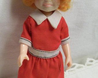 "Little Orphan Annie Doll Posable 6"" Knickerbocker Doll Vintage"
