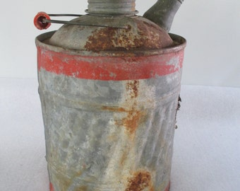 Gas Can, Galvanized Vintage Kerosene Fuel Gasoline Petrol, Small Industrial Man Cave Rustic Primitive Garden Cottage Cabin Garage Decor Prop