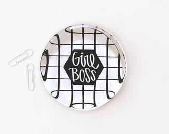 Girl Boss Desk Accessories Custom Glass Paperweight Cute Office Supplies Inspirational Quote Paperweight Girl Boss Gifts New Job Gift